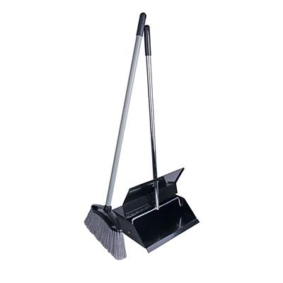 Black Powder Coated Lobby Dustpan & Brush